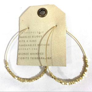 Anthopologie Gold Beaded Hoops